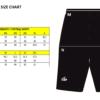 football shorts size chart